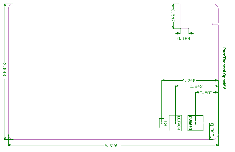PureThermal OpenMV dimensions